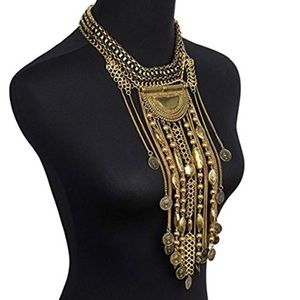 Bohemian Coin Bead Fringe Statement Necklace